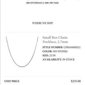 NEW David Yurman small box chain necklace, 2.7mm